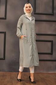 Almond Green Hijab Coat 14650CY - Thumbnail