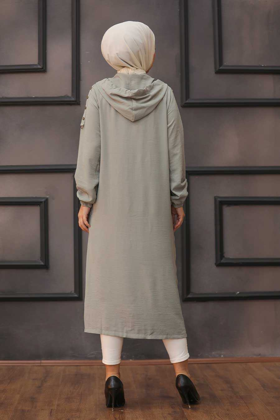 Almond Green Hijab Coat 14650CY