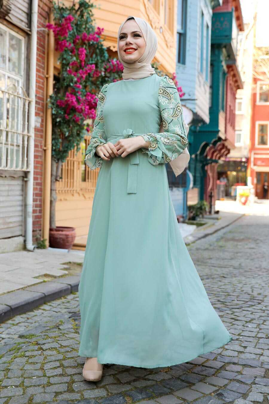 Almond Green Hijab Dress 12327CY