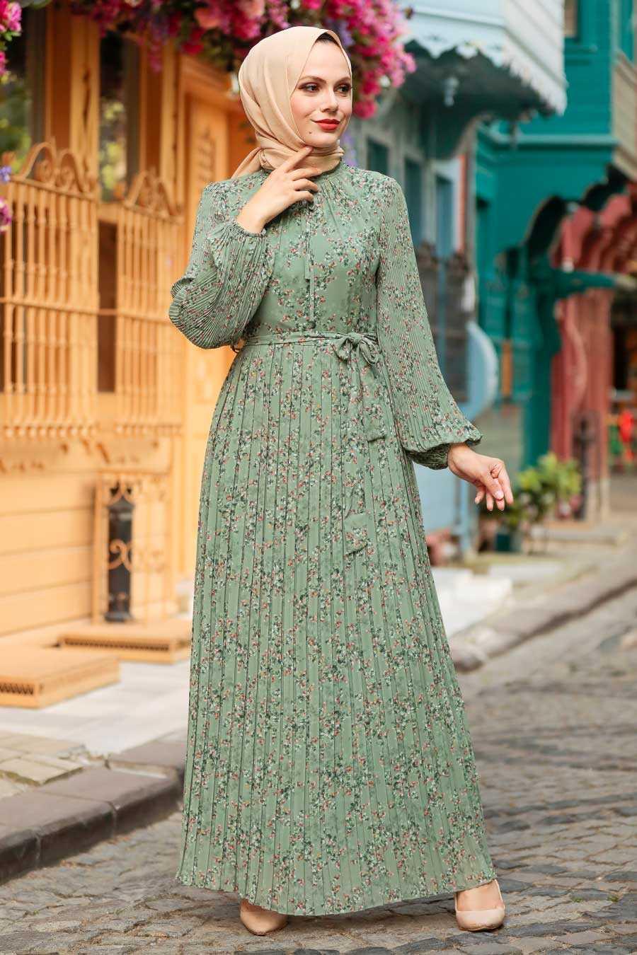 Almond Green Hijab Dress 27890CY