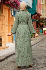 Almond Green Hijab Dress 27890CY - Thumbnail