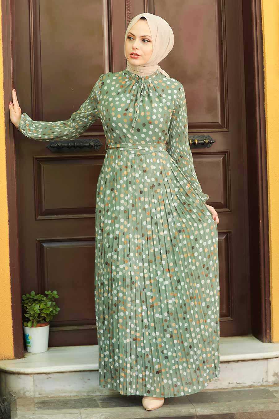 Almond Green Hijab Dress 27894CY