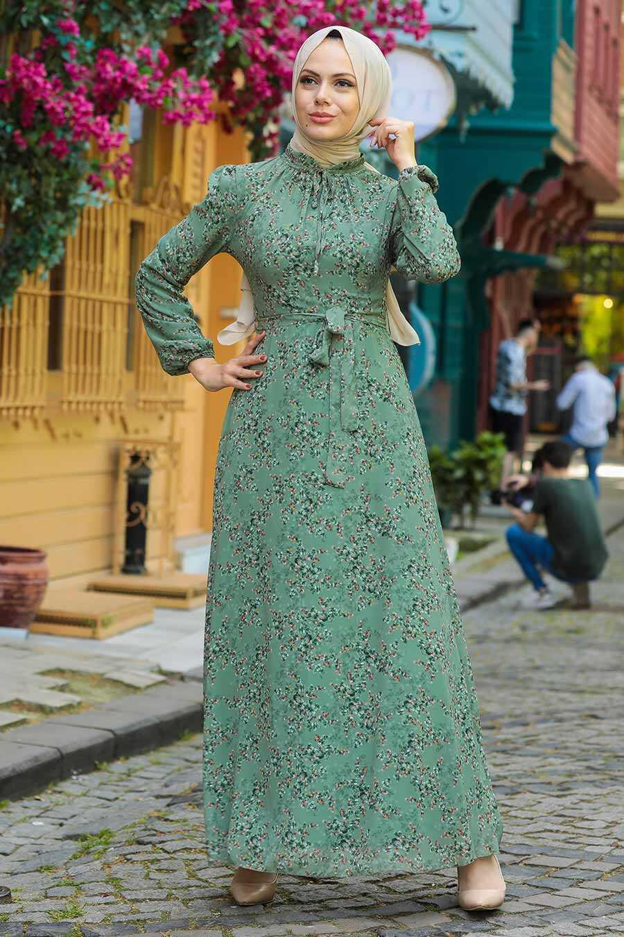 Almond Green Hijab Dress 279011CY