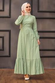 Almond Green Hijab Dress 28480CY - Thumbnail