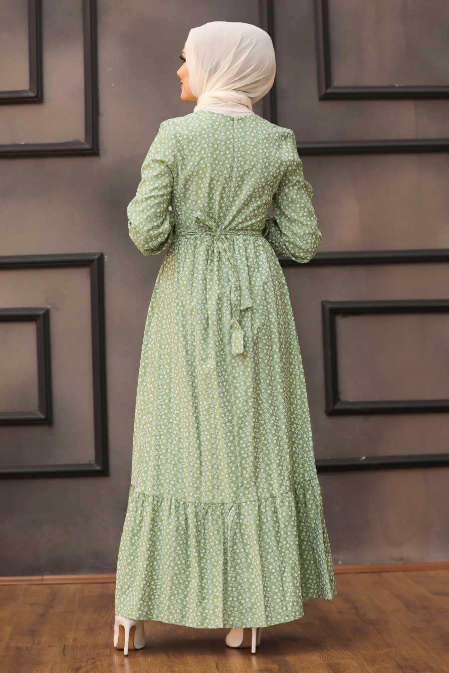 Almond Green Hijab Dress 28480CY