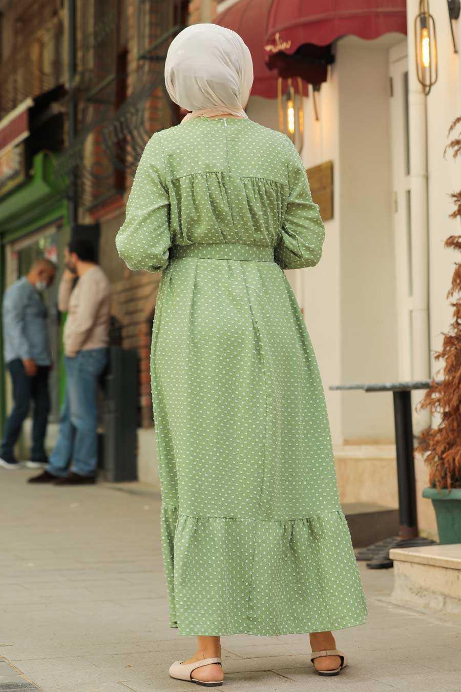 Almond Green Hijab Dress 3738CY
