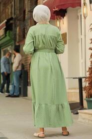 Almond Green Hijab Dress 3738CY - Thumbnail