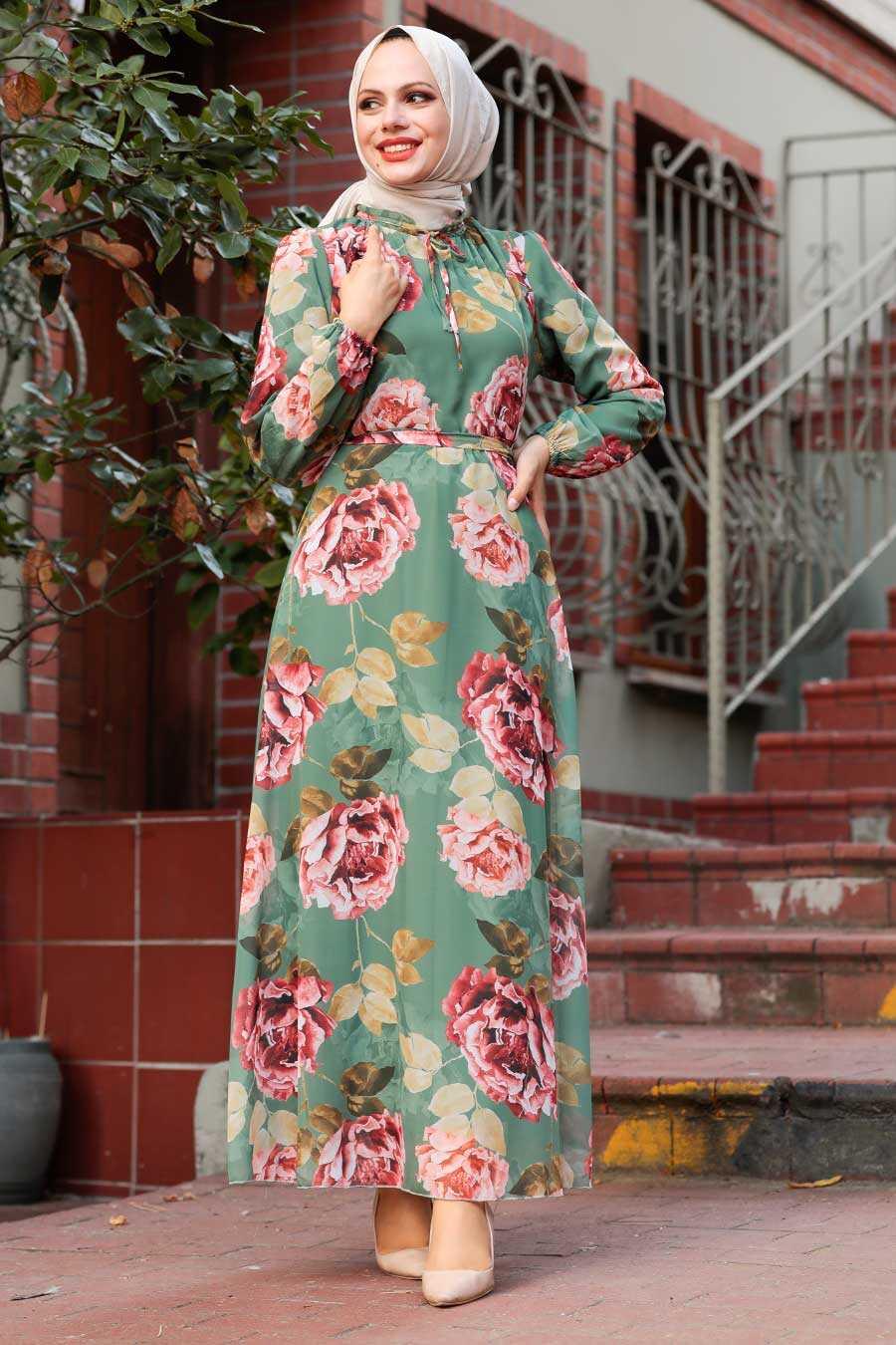 Almond Green Hijab Dress 71020CY