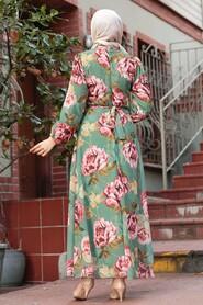 Almond Green Hijab Dress 71020CY - Thumbnail