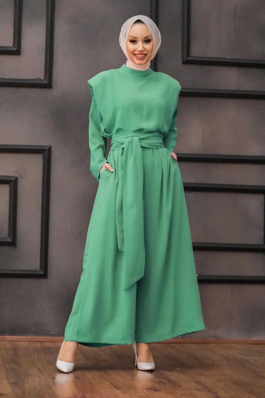 Almond Green Hijab Dual Suit Dress 1471CY