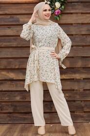 Almond Green Hijab Dual Suit Dress 30091CY - Thumbnail