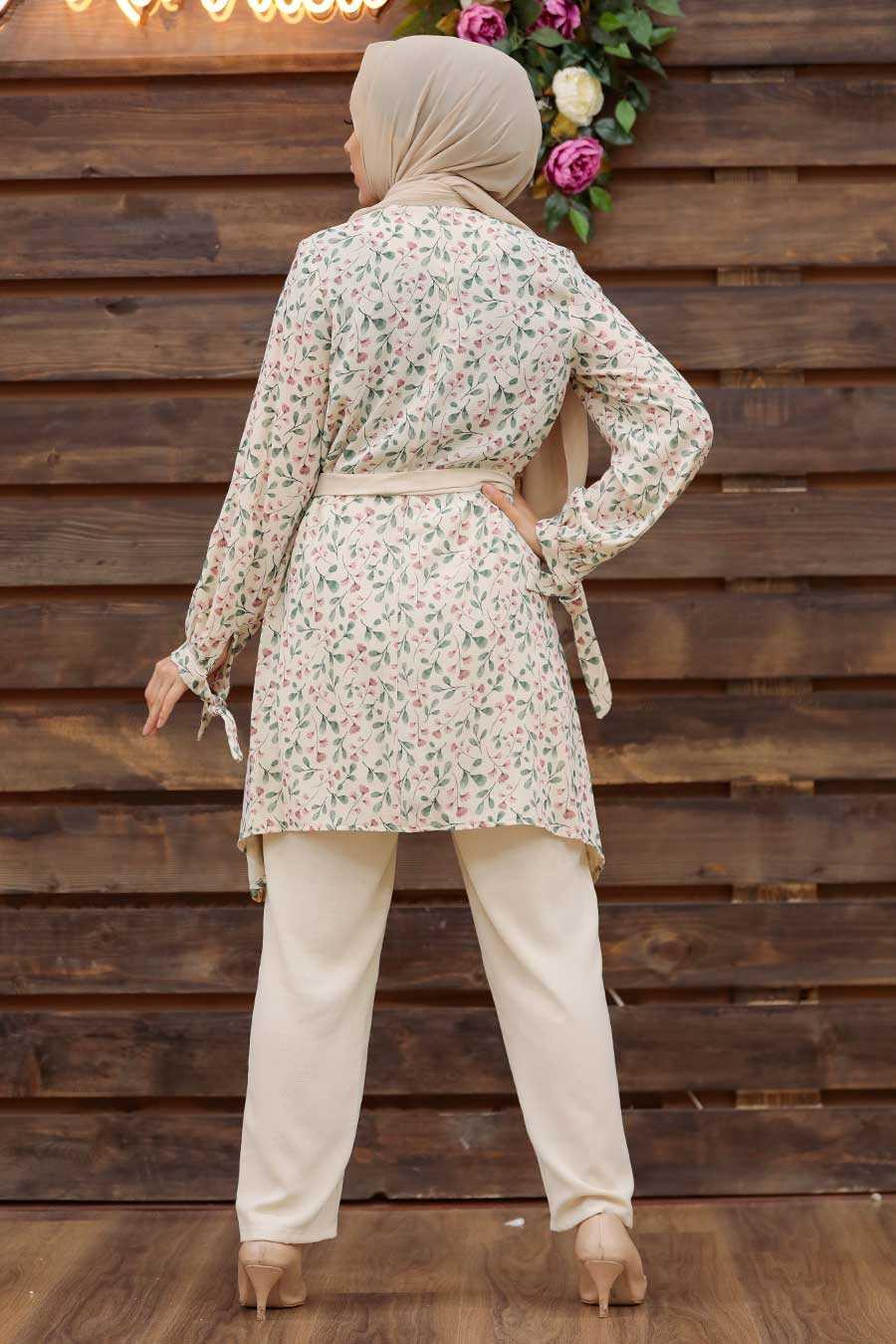 Almond Green Hijab Dual Suit Dress 30091CY