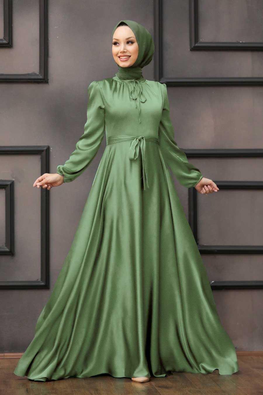 Almond Green Hijab Evening Dress 25130CY