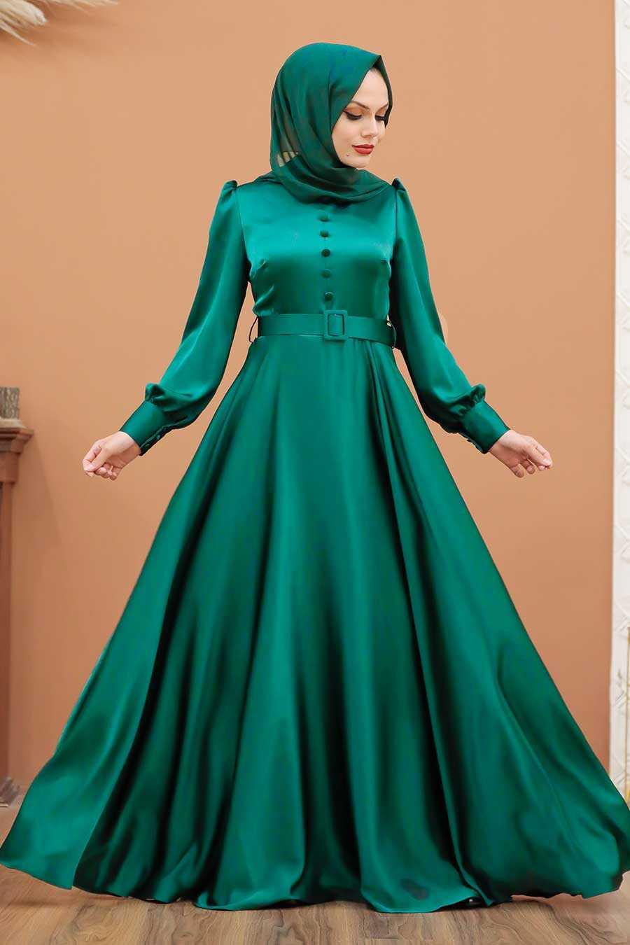 Almond Green Hijab Evening Dress 3038CY