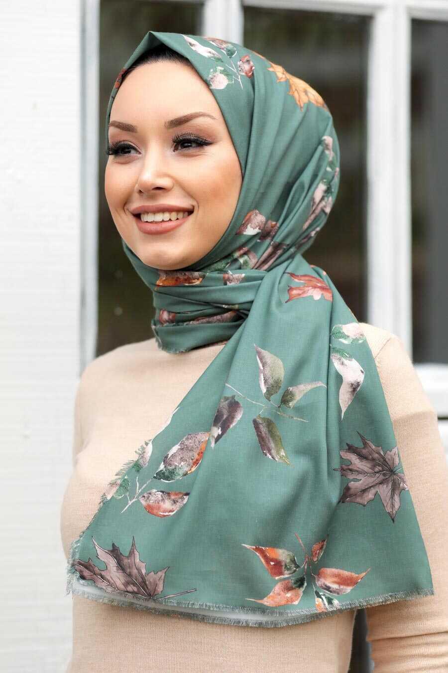 Almond Green Hijab Shawl 7569CY