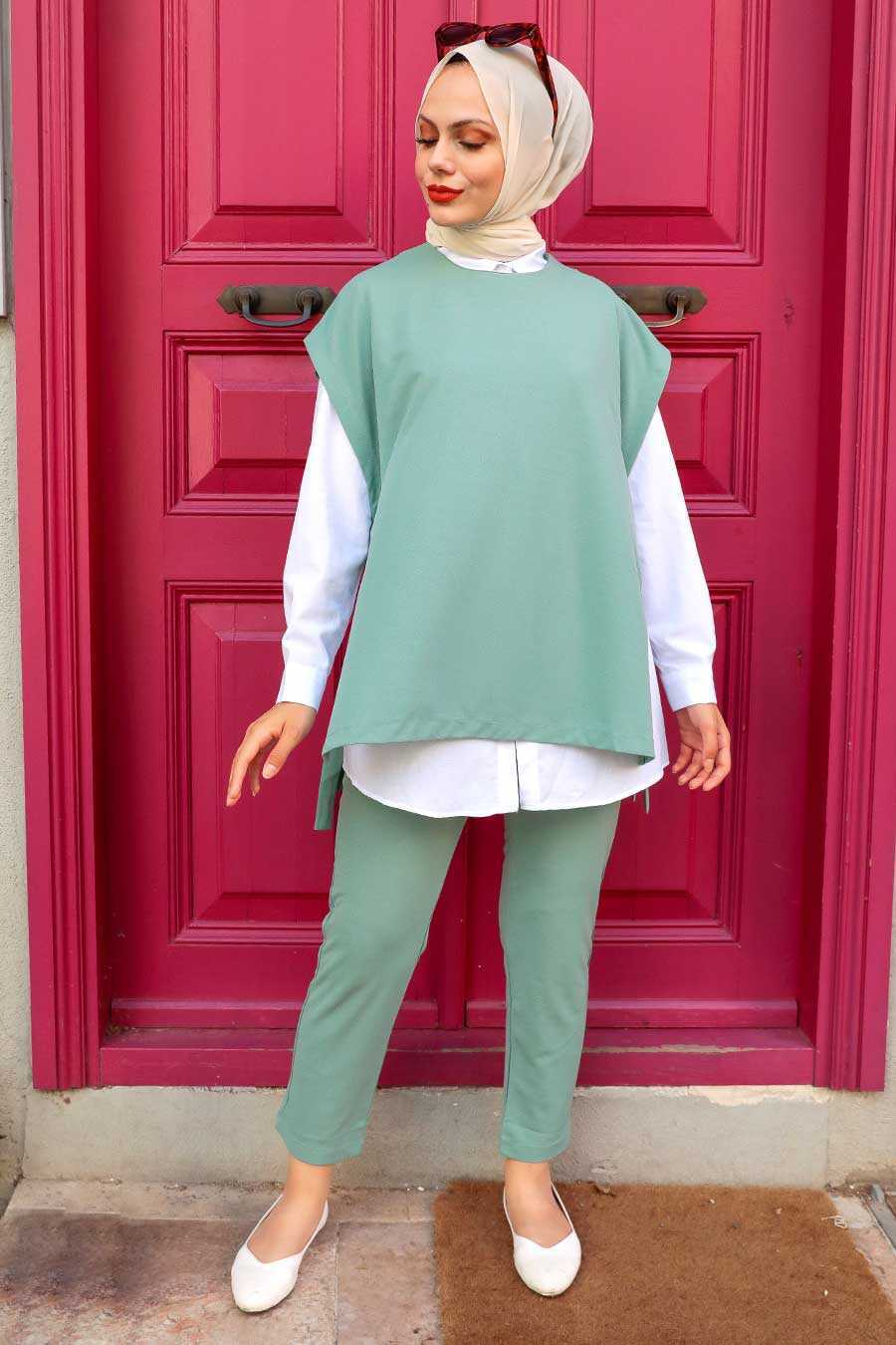 Almond Green Hijab Suit Dress 253CY