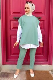 Almond Green Hijab Suit Dress 253CY - Thumbnail