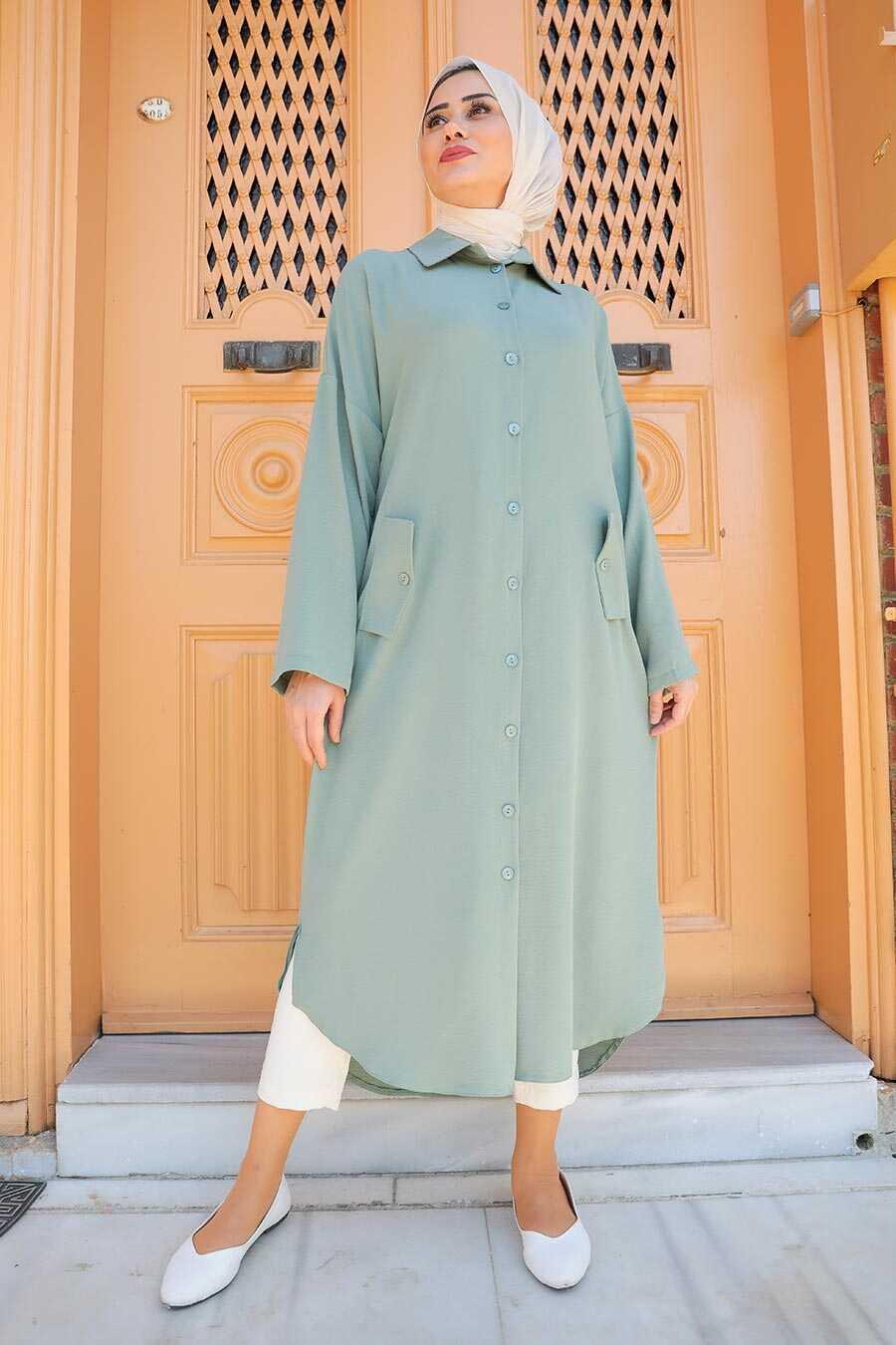Almond Green Hijab Tunic 2424CY