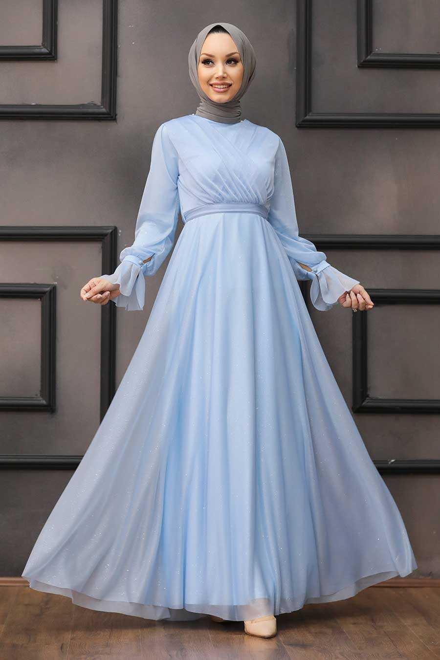 Baby Blue Hijab Evening Dress 22202BM