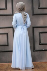 Baby Blue Hijab Evening Dress 22202BM - Thumbnail