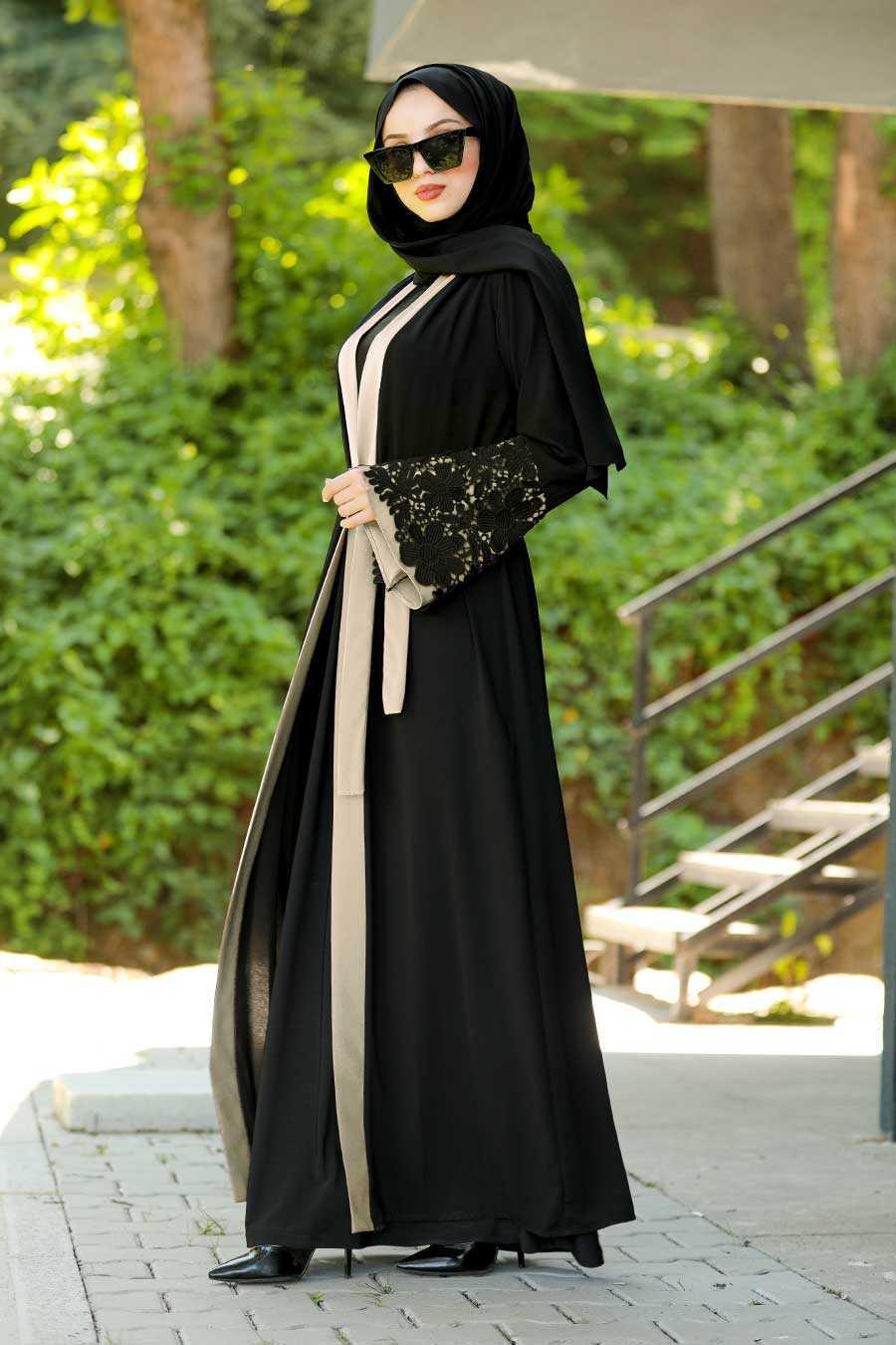 Beige Hijab Abaya 55084BEJ