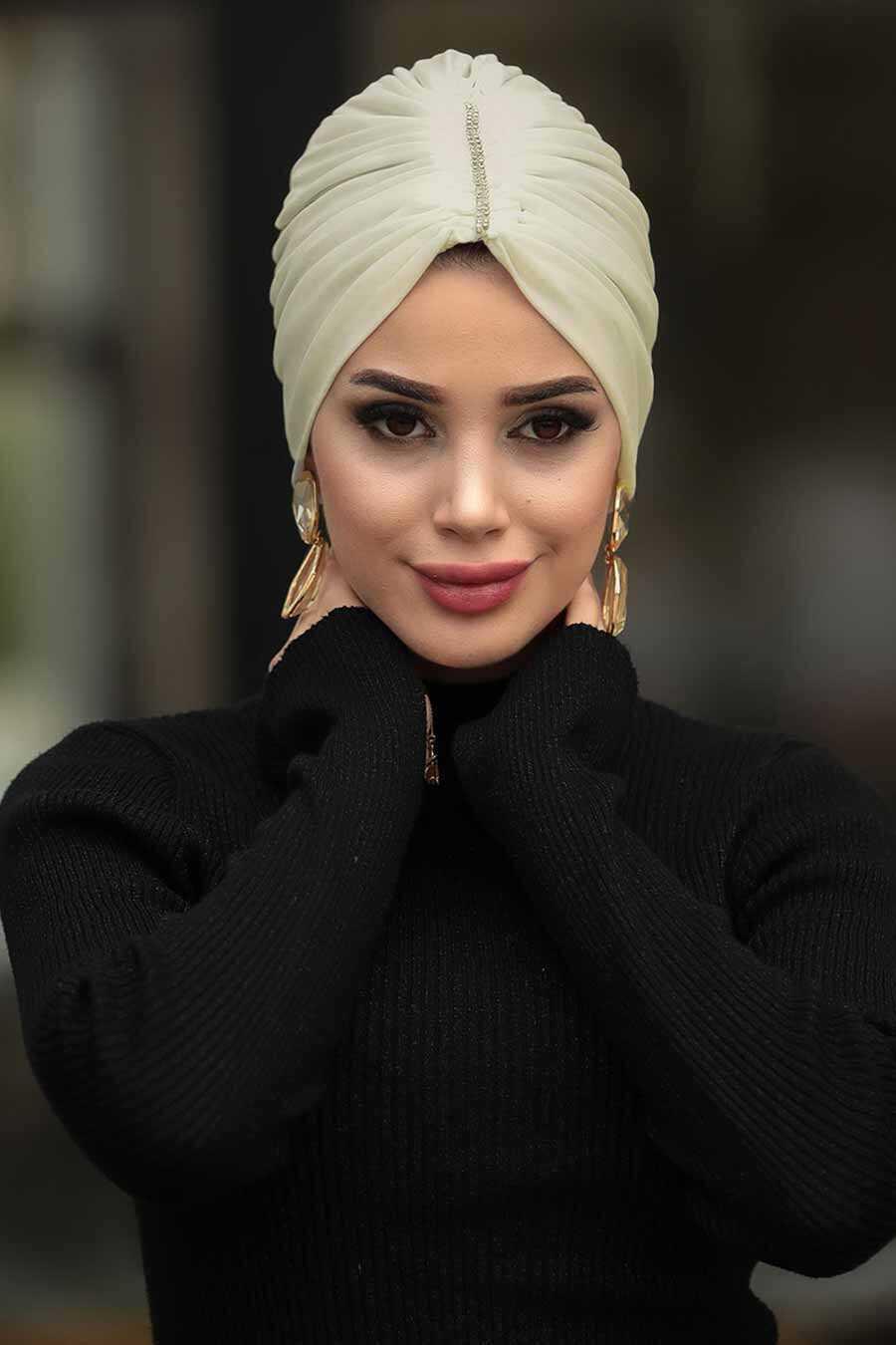 Beige Hijab Cap Shawl 7526BEJ