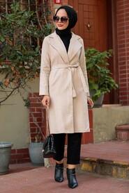 Beige Hijab Coat 7013BEJ - Thumbnail