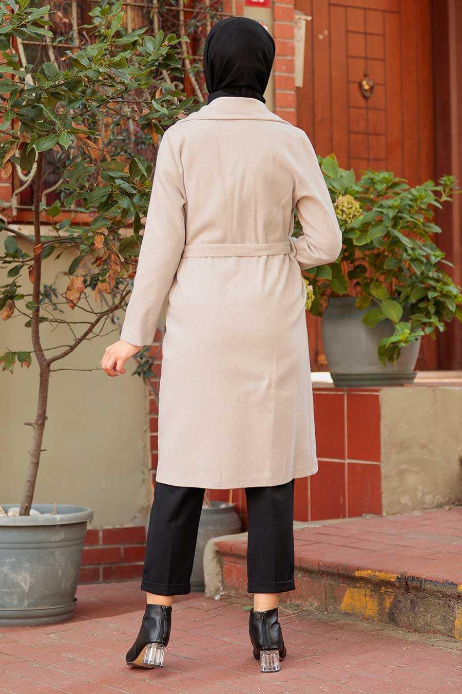 Beige Hijab Coat 7013BEJ