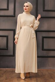Beige Hijab Dress 12151BEJ - Thumbnail