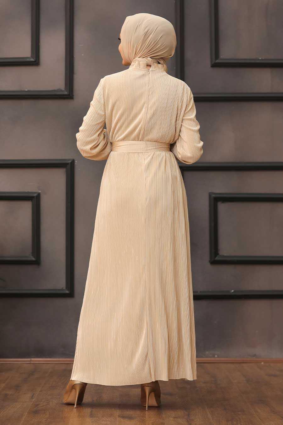 Beige Hijab Dress 12151BEJ