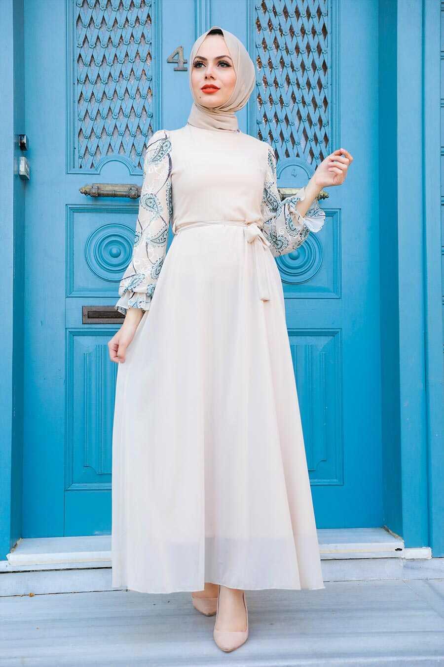 Beige Hijab Dress 12327BEJ