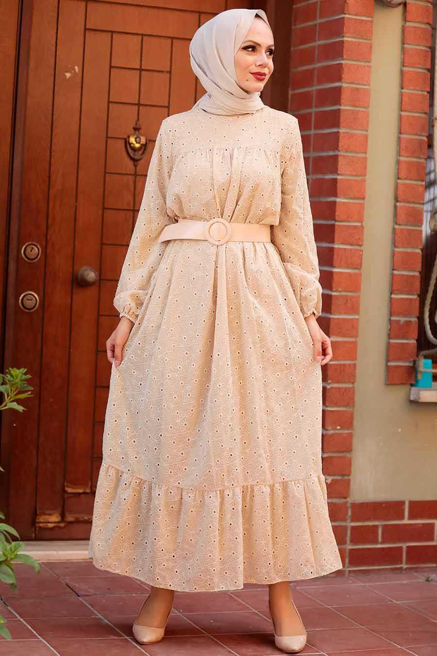 Beige Hijab Dress 1755BEJ