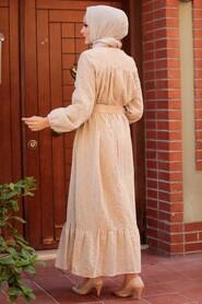 Beige Hijab Dress 1755BEJ - Thumbnail