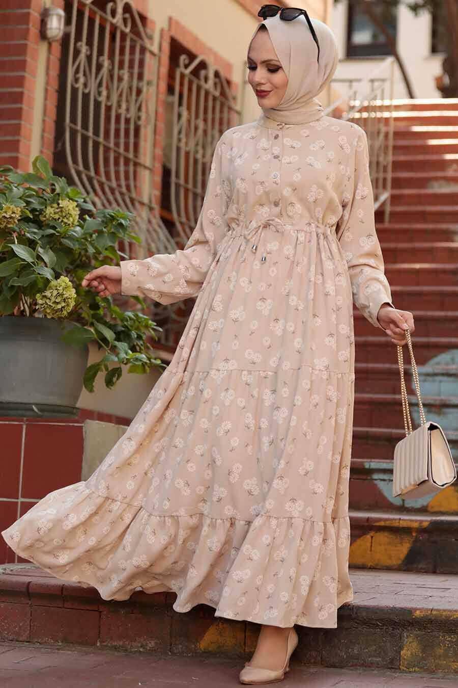 Beige Hijab Dress 22152BEJ