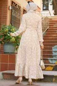 Beige Hijab Dress 22152BEJ - Thumbnail