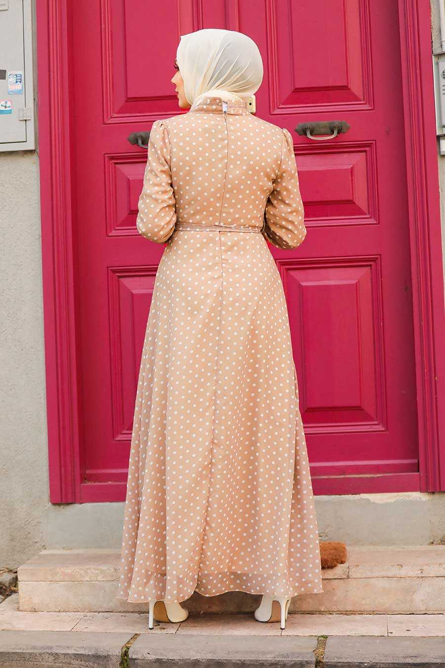 Beige Hijab Dress 27909BEJ