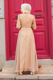 Beige Hijab Dress 27909BEJ - Thumbnail