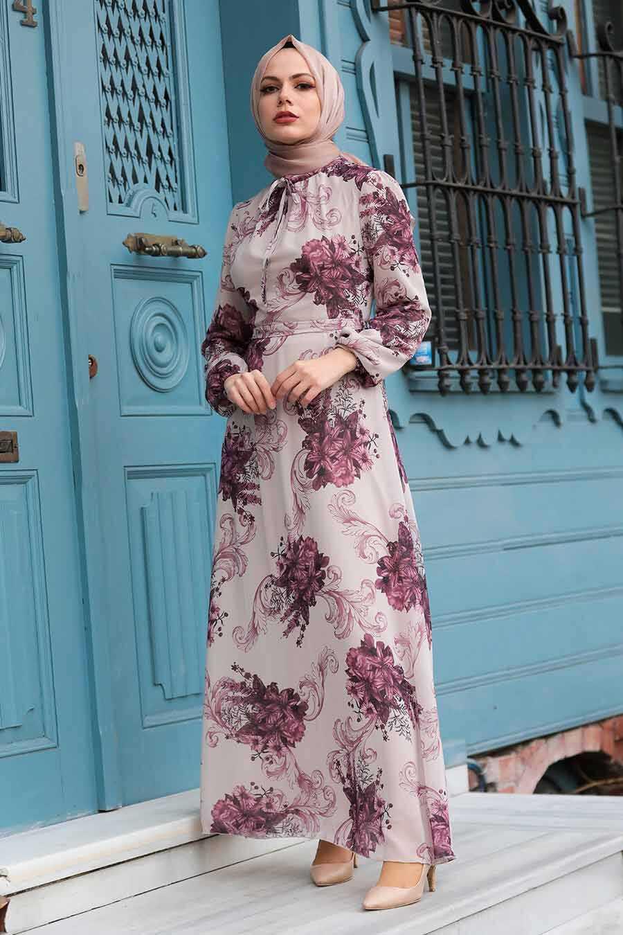 Beige Hijab Dress 27921BEJ