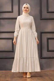 Beige Hijab Dress 28480BEJ - Thumbnail