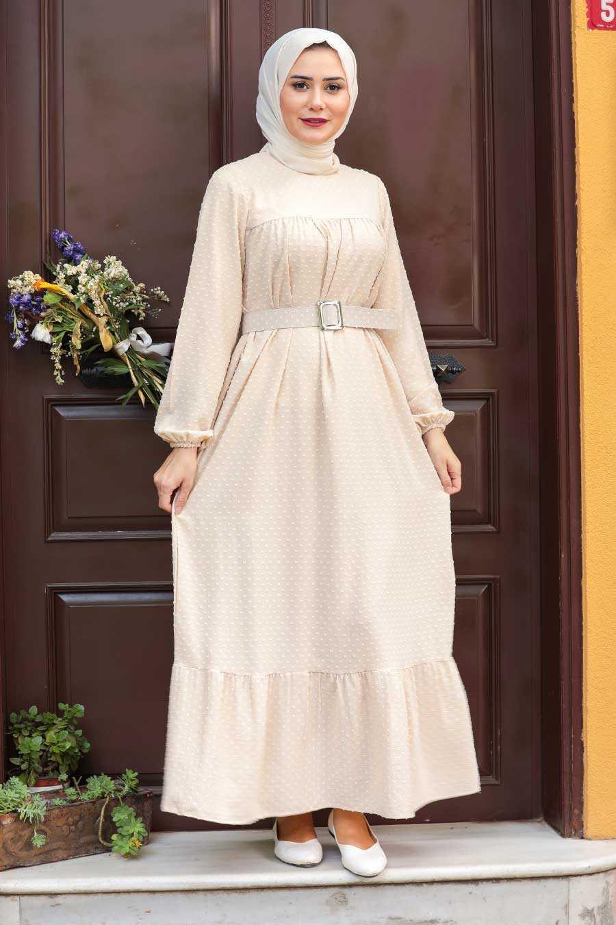 Beige Hijab Dress 3738BEJ