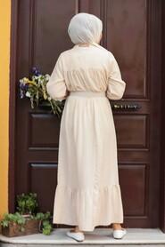 Beige Hijab Dress 3738BEJ - Thumbnail