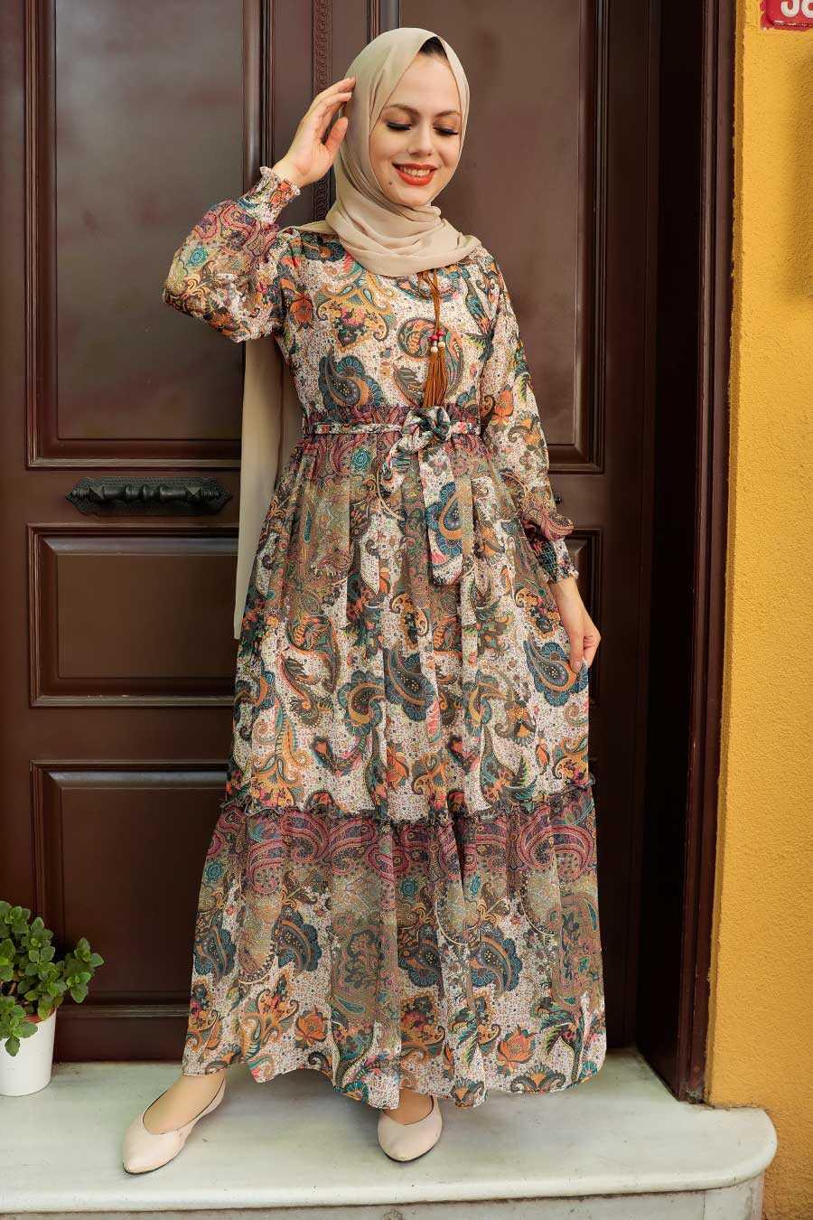 Beige Hijab Dress 76441BEJ