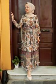 Beige Hijab Dress 76441BEJ - Thumbnail