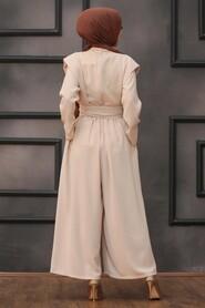 Beige Hijab Dual Suit Dress 1471BEJ - Thumbnail