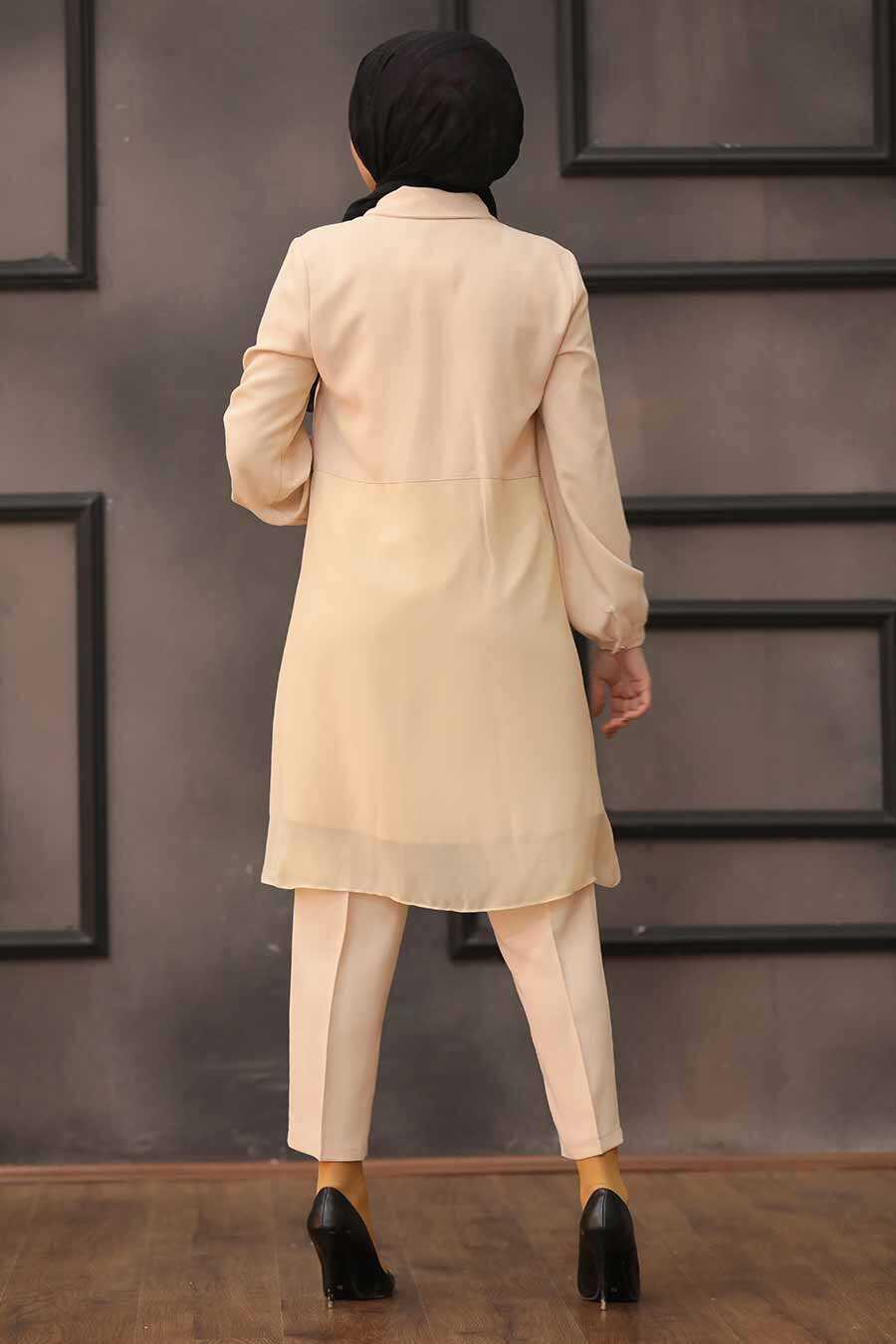 Beige Hijab Dual Suit Dress 14801BEJ