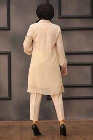 Beige Hijab Dual Suit Dress 14801BEJ - Thumbnail