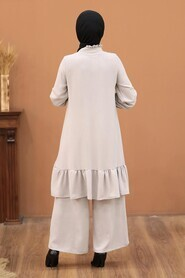 Beige Hijab Dual Suit Dress 2428BEJ - Thumbnail