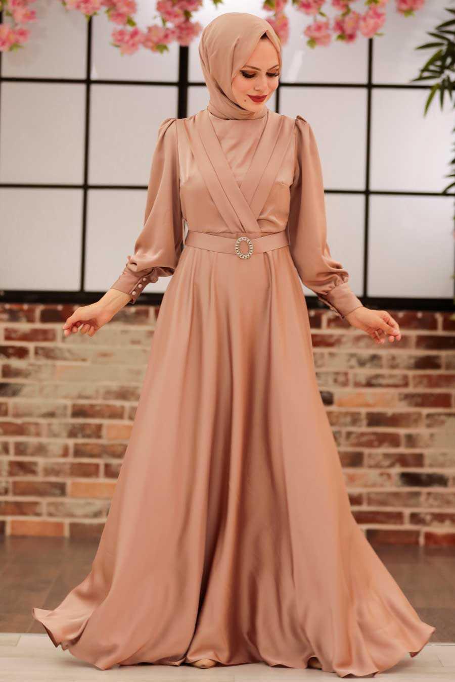 Beige Hijab Evening Dress 31290BEJ