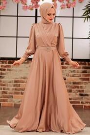 Beige Hijab Evening Dress 31290BEJ - Thumbnail