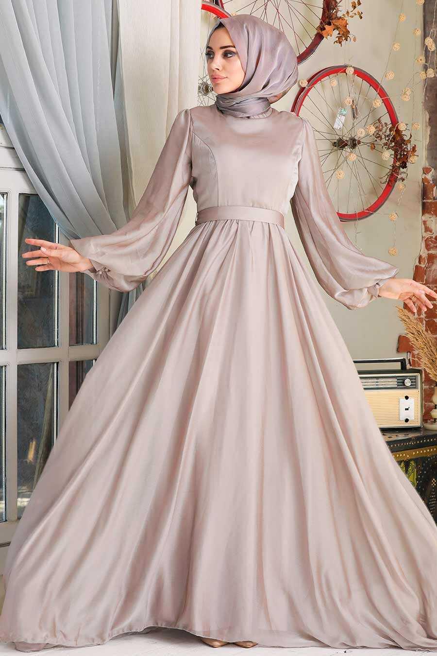 Beige Hijab Evening Dress 5215BEJ